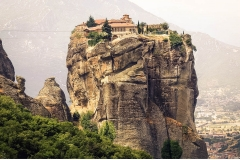 Visiting monks in greece